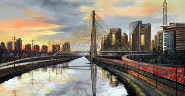 9 - Sao Paulo - Marginal Pinheiros com Ponte Estaiada - 70 x100cm