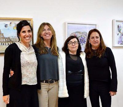 Giuli Sommantico, Mariángeles Blanco, artista e galerista, Fátima Marinho e Thereza Ávila na exposição